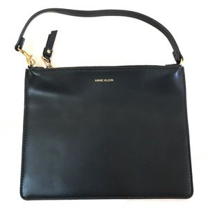 Anne Klein black leather wristlet